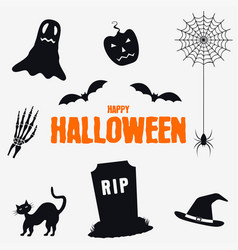 happy halloween - decorations elements set vector image