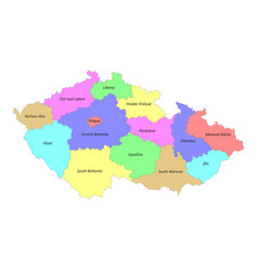 high quality colorful labeled map czech vector image