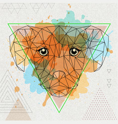 Hipster polygonal animal dog on artistic vector