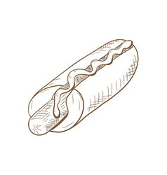 hot dog hand drawn sketch vector image
