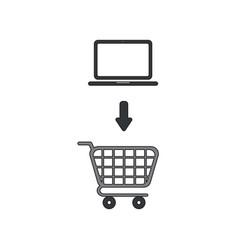 Icon concept laptop into shopping cart vector