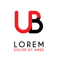 initial letter ub with red black and has rounded vector image