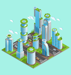 Isolated and isometric futuristic skyscrapers vector