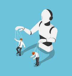 isometric ai robot controlling businessman like a vector image