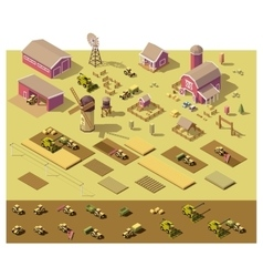 isometric low poly farm elements vector image