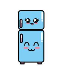 Kawaii cute happy fridge utensil vector