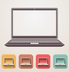 Laptop flat icons set fadding shadow effect vector image