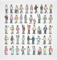 Large collection of different people set of poses vector