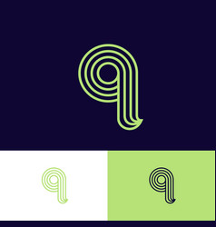letter q monogram thin lines green web ui icon vector image