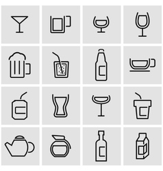 line beverages icon set vector image