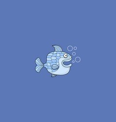 little blue fish swimming in water vector image
