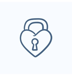 Lock shaped heart sketch icon vector image