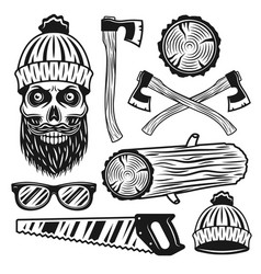 Lumberjack equipment and attributes objects vector