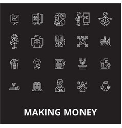 making money editable line icons set on vector image