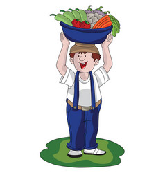 Man hawking vegetables vector