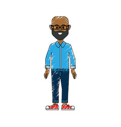 Man with beard glasses and casual cloth vector