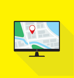 map application on desktop pc monitor flat design vector image