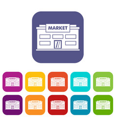 market icons set vector image vector image