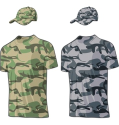 Military Shirts and caps templates vector