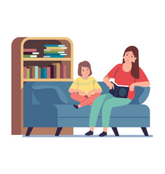 Mother reading to kid mom reading bedtime vector