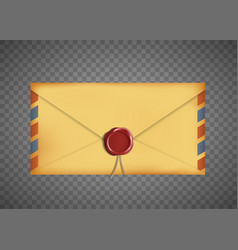 Old vintage closed envelope with a wax seal vector