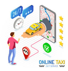online taxi isometric concept vector image