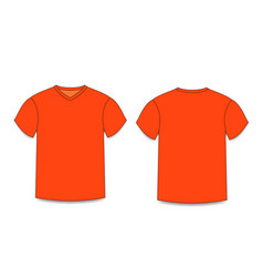 orange men s t-shirt template v-neck front and vector image