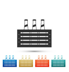pack of beer bottles icon case crate beer box vector image
