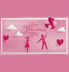 paper art concept of valentine vector image