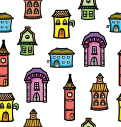Pattern with cute cartoon colorful houses vector image