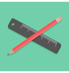 Pencil and ruler on green background vector