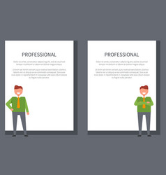 professional businessman poster with smiling men vector image