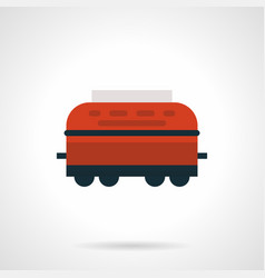 Red refrigerated rail car flat icon vector