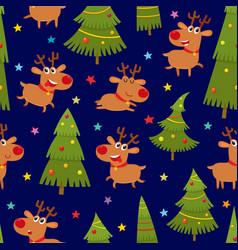 Seamless pattern with cartoon reindeers vector