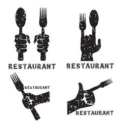 set grunge vintage emblems restaurant vector image