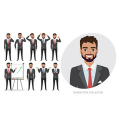 Set of emotions and poses for business man male vector