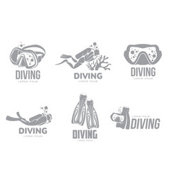 Set of graphic diving logo templates with divers vector
