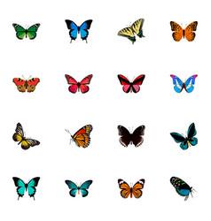 Set of moth realistic symbols with hairstreak vector