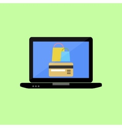 Shopping online in flat style vector image