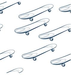 skateboard seamless pattern outline decorative vector image