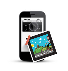 Smartphone with retro camera and picture on paper vector