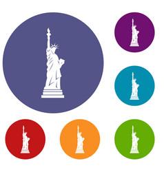 Statue liberty icons set vector