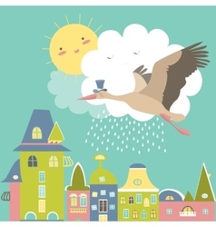 Stork is flying in the sky vector