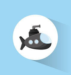Submarine periscope underwater icon vector