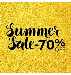 Summer Sale 70 Off Lettering over Gold Glitter vector image