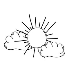 sun and clouds cartoon vector image