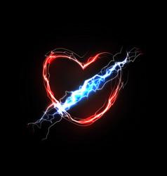 Thunderbolt in heart love and feelings associated vector