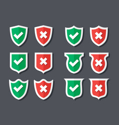Tick and cross shields vector