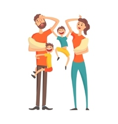 Tired Young Parents With two Babies And Two Older vector