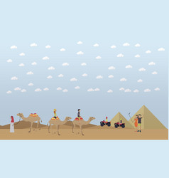 trip to egypt pyramids riding camels concept vector image